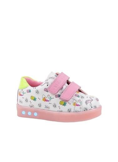 Kids A More Pineapple Çift Cırtlı Işıklı n Pu Deri Kız Çocuk Ayakkabı  Pembe